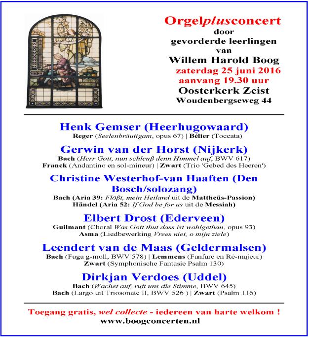 Orgelplusconcert WHB 25 juni 2016