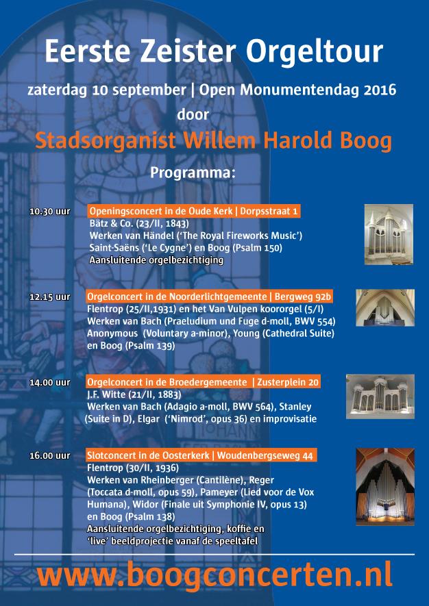 Eerste Zeister orgeltour poster voorkant